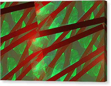 Abstract Tiled Green And Red Fractal Flame Canvas Print by Keith Webber Jr