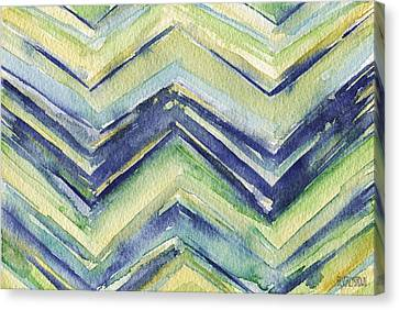 Abstract Watercolor Painting - Blue Yellow Green Chevron Pattern Canvas Print by Beverly Brown Prints