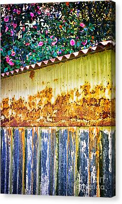 Abstract Weathered Metal Cabin Detail Canvas Print by Silvia Ganora