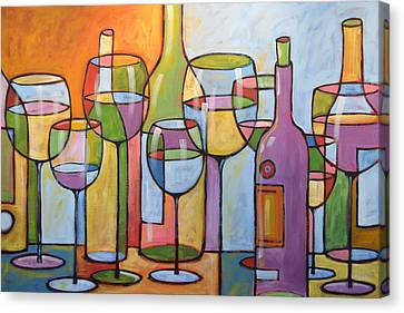 Abstract Wine Dining Room Bar Kitchen Art ... Time To Relax Canvas Print by Amy Giacomelli