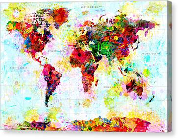 Abstract World Map Canvas Print by Gary Grayson
