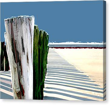 Abstracted Beach Dune Fence Canvas Print by Elaine Plesser