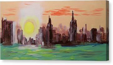 Abstracted Ny Skyline Canvas Print by Rich Mason