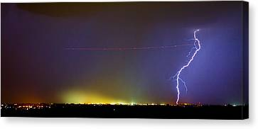 Ac Strike Over The City Lights Panorama Canvas Print by James BO  Insogna