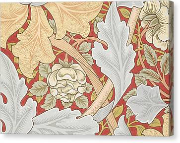 Acanthus Leaves Wild Rose On Crimson Background Canvas Print by William Morris
