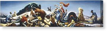 Achelous And Hercules Canvas Print by Thomas Benton