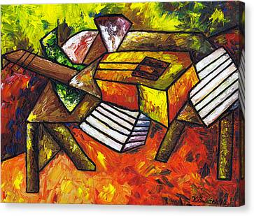 Acoustic Guitar On Artist's Table Canvas Print by Kamil Swiatek