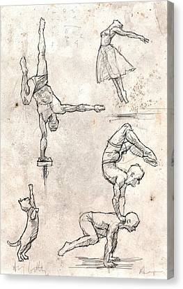 Acrobats And Dancer With Cat Canvas Print by H James Hoff
