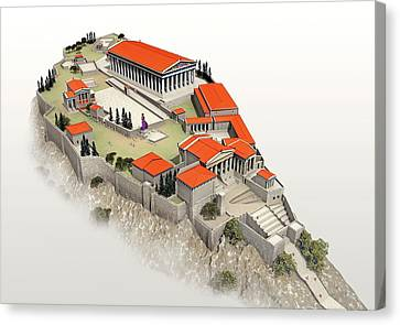 Acropolis Canvas Print by Jose Antonio Pe�as