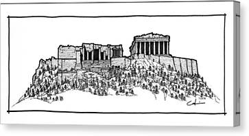 Acropolis Of Athens Canvas Print by Calvin Durham