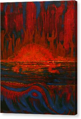 Across The Lake-the Worshipers Canvas Print by Kathy Peltomaa Lewis
