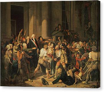 Act Of Courage Of Monsieur Defontenay, Mayor Of Rouen, 29th August 1792 Oil On Canvas Canvas Print by Louis Leopold Boilly