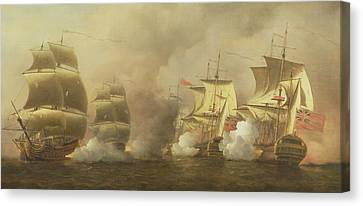Action Off The Cape Of Good Hope Canvas Print by Samuel Scott