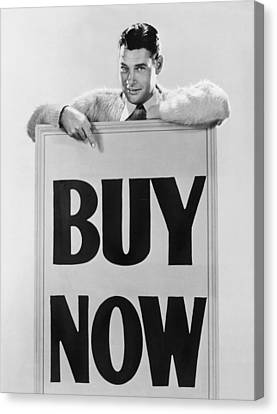 Actor Says buy Now Canvas Print by Underwood Archives