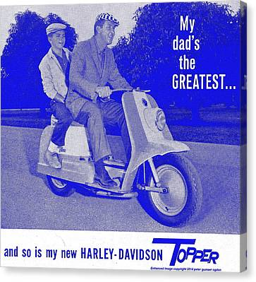 Ad For The 1954 Harley Davidson Topper Scooter In Blue Canvas Print by Peter Gumaer Ogden
