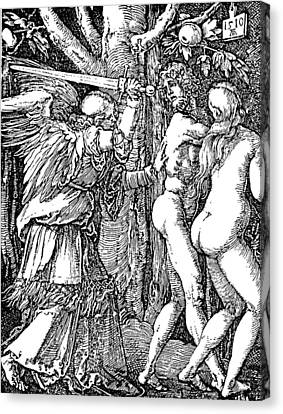Adam And Eve Etching By Albrecht Durer Canvas Print by