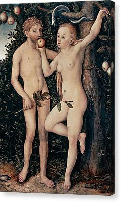 Adam And Eve Canvas Print by Lucas Cranach Elder