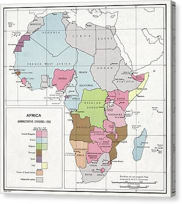 Administrative Divisions Of Africa Canvas Print by Library Of Congress, Geography And Map Division