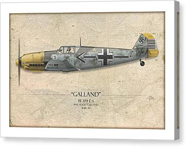 Adolf Galland Messerschmitt Bf-109 - Map Background Canvas Print by Craig Tinder