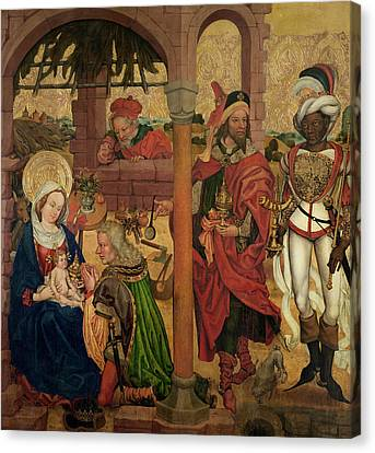 Adoration Of The Magi, C.1475 Oil On Panel Canvas Print by Martin Schongauer