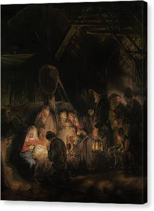 Adoration Of The Shepherds, 1646 Oil On Canvas Canvas Print by Rembrandt Harmensz. van Rijn