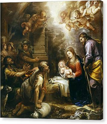 Adoration Of The Shepherds Canvas Print by Francisco Rizi
