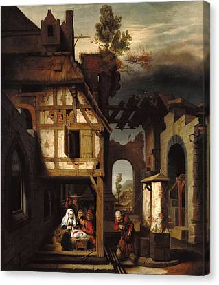 Adoration Of The Shepherds Canvas Print by Nicolaes Maes