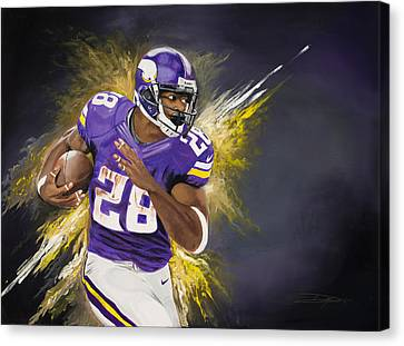 Adrian Peterson Canvas Print by Don Medina