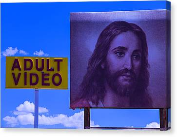 Adult Video Sign Canvas Print by Garry Gay