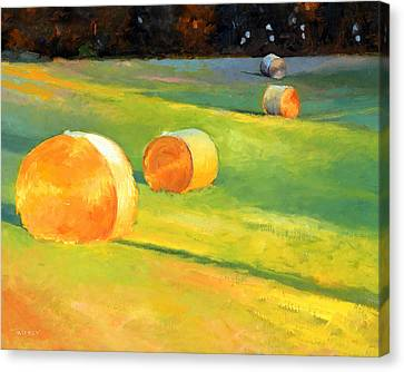 Advance Mills Hall Bales Canvas Print by Catherine Twomey