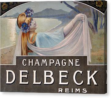 Advertisement For Champagne Delbeck Canvas Print by Louis Chalon