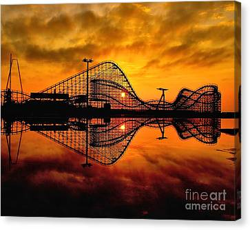 Adventure Pier At Sunrise Canvas Print by Nick Zelinsky