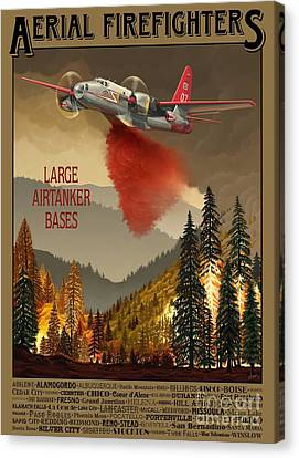 Aerial Firefighters Large Airtanker Bases Canvas Print by Airtanker Art