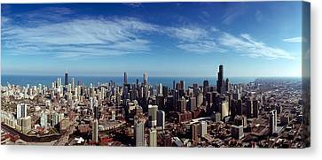 Aerial View Of A Cityscape With Lake Canvas Print by Panoramic Images