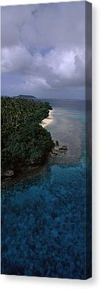 Aerial View Of A Coastline, Vavau Canvas Print by Panoramic Images
