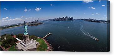 Aerial View Of A Statue, Statue Canvas Print by Panoramic Images
