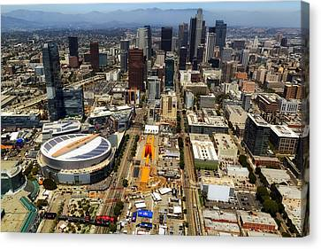 Aerial View Of Los Angeles Canvas Print by Mountain Dreams