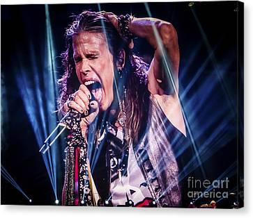 Aerosmith Steven Tyler Singing In Concert Canvas Print by Jani Bryson