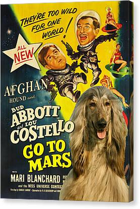 Afghan Hound Art- Abbott And Costello Go To Mars Movie Poster Canvas Print by Sandra Sij