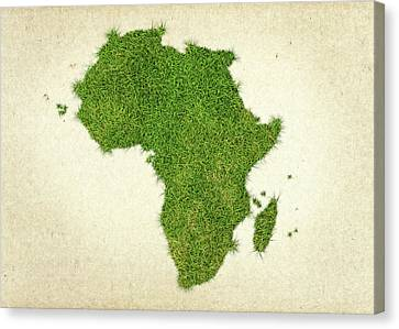 Africa Grass Map Canvas Print by Aged Pixel
