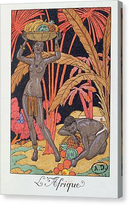 'africa' Illustration For A Calendar For 1921 Canvas Print by Georges Barbier