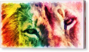 African Lion Eyes 2 Canvas Print by Angelina Vick