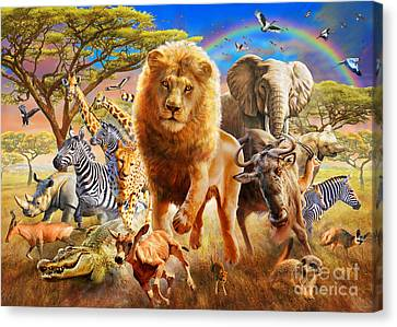 African Stampede Canvas Print by Adrian Chesterman