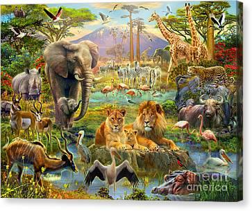 African Watering Hole Canvas Print by Jan Patrik Krasny