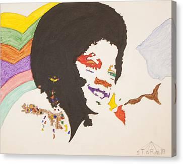 Afro Michael Jackson Canvas Print by Stormm Bradshaw