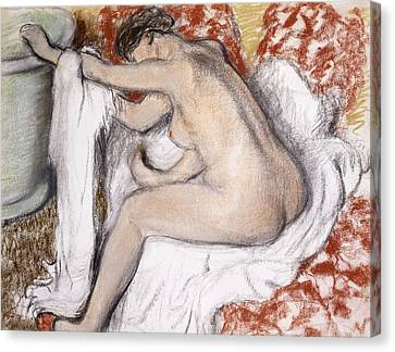 After The Bath Woman Drying Herself Canvas Print by Edgar Degas