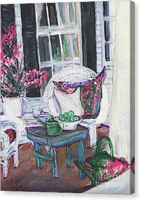 Afternoon At Emmanline's Front Porch Canvas Print by Helena Bebirian