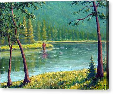 Afternoon Fishing Canvas Print by Rick Hansen