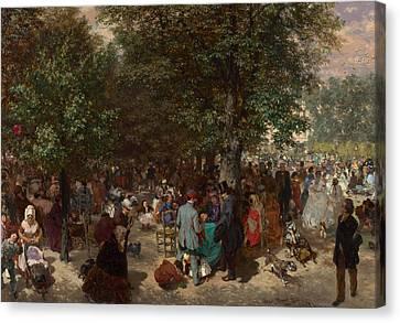 Afternoon In The Tuileries Gardens Canvas Print by Adolph Friedrich Erdmann von Menzel