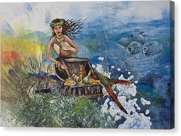 Agean Sea Mermaid Canvas Print by Nancy Gorr